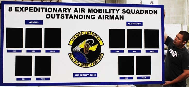 SB1165- Carved 2.5-D HDU Outstanding Airman Award Board for the 8th Expeditionary Air Mobility Squadron, IS Air Force