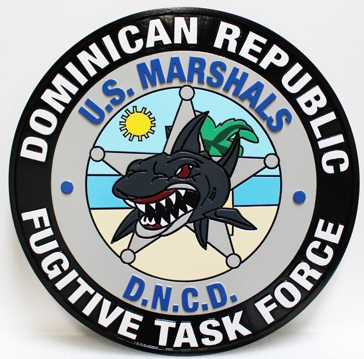 AP-2517 - Carved 2.5-D HDU Plaque of the Logo of United States Marshals Fugitive Task Force, Dominican Republic
