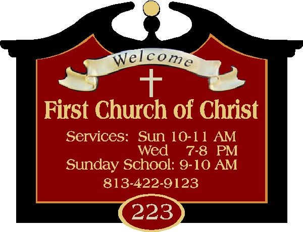"D13071- Design of a ""Welcome"" Sign for Church with Decorative Cross, Hours of Services, Address and Phone Number"