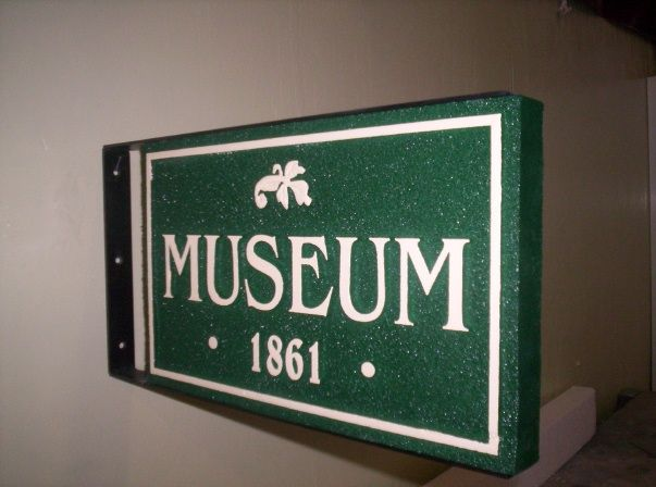 F15968 - Carved HDU Sign with Flower for Museum with Museum Date of 1861