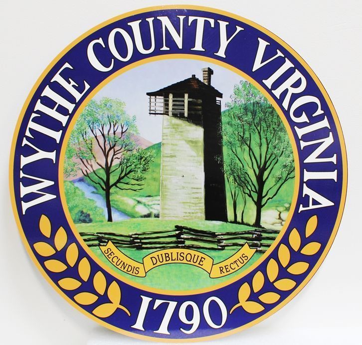 X33420 - Carved 2.5-D HDU Plaque of the Seal of Wythe County, Virginia