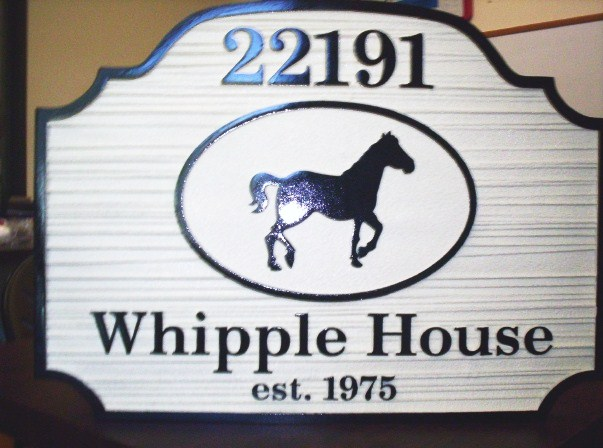 "I18786 - Carved and Sandblasted HDU  PropertyName Sign ""Whipple Hose"", with a Silhouette of a Horse"