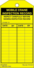Mobile Crane Inspection Record Tag