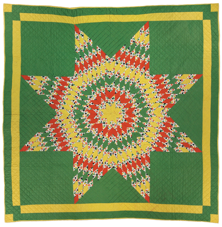 Star of Bethlehem, made by Christine Heide Sorensen, circa 1928-1930, made in Rockville, Nebraska, machine pieced, hand quilted, 83 x 84 inches, IQSCM 1998.005.0001. gift of Gladys Sorensen
