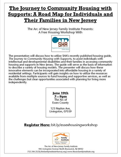 Free Housing Workshop: The Journey to Community Housing with Supports (Essex County)