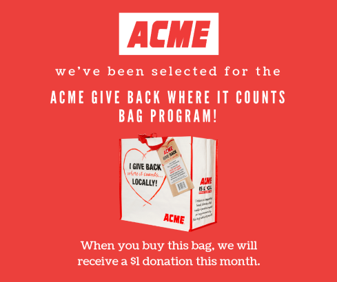 FOR EVERY ACME REUSABLE BAG PURCHASE IN APRIL WE RECEIVE $1