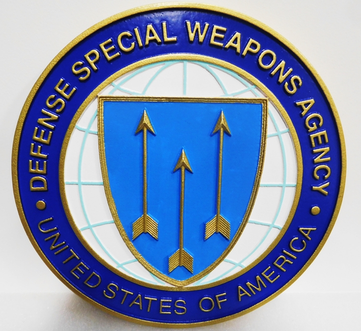 IP-1725 - Carved Plaque of the Seal of the Defense Special Weapons Agency (DSWA), 3-D Artist-Painted