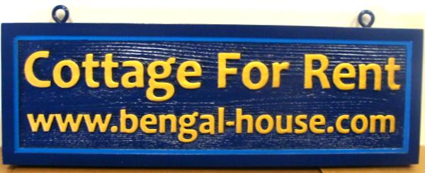L22140 -Carved and Sandblasted Cedar Wooden Bengal House Cottage for Rent Sign