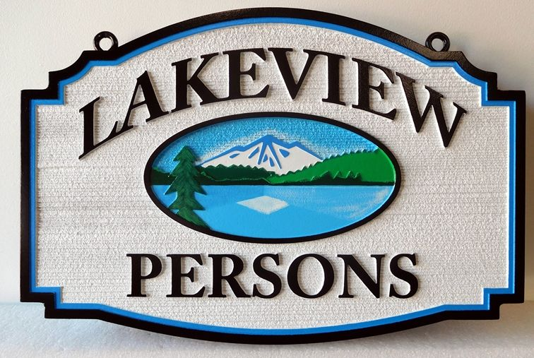 "M22222 - Carved and Sandblasted Lake Cabin Sign, with Mountains, Lake and Trees ""Lakeview"""