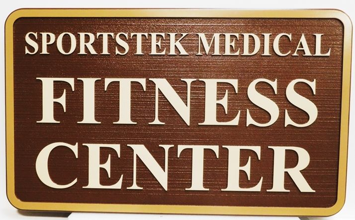 GB16116 - Carved High-Density-Urethane (HDU) Sign for Sportstek Medical Fitness Center