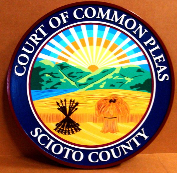 A10867 - 2.5-D  Wall Plaque for Court of Common Pleas in Ohio (Full Color)