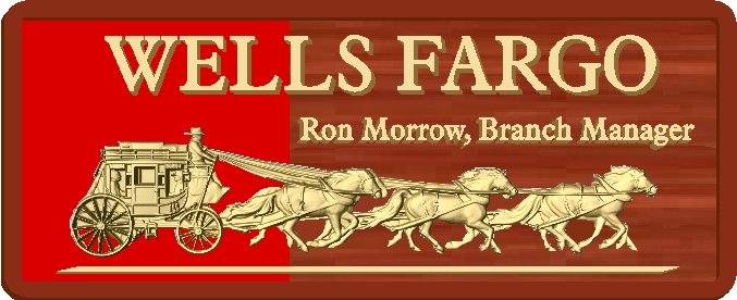 Z35310 - 2.5-D Interior Wall Plaque for Wells Fargo Bank, Carved from Mahogany, with  Raised Text and Artwork o