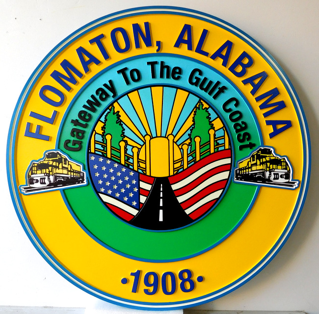 DP-1500 - Carved Plaque of the Seal of the City of Flomaton, Alabama,   Artist Painted