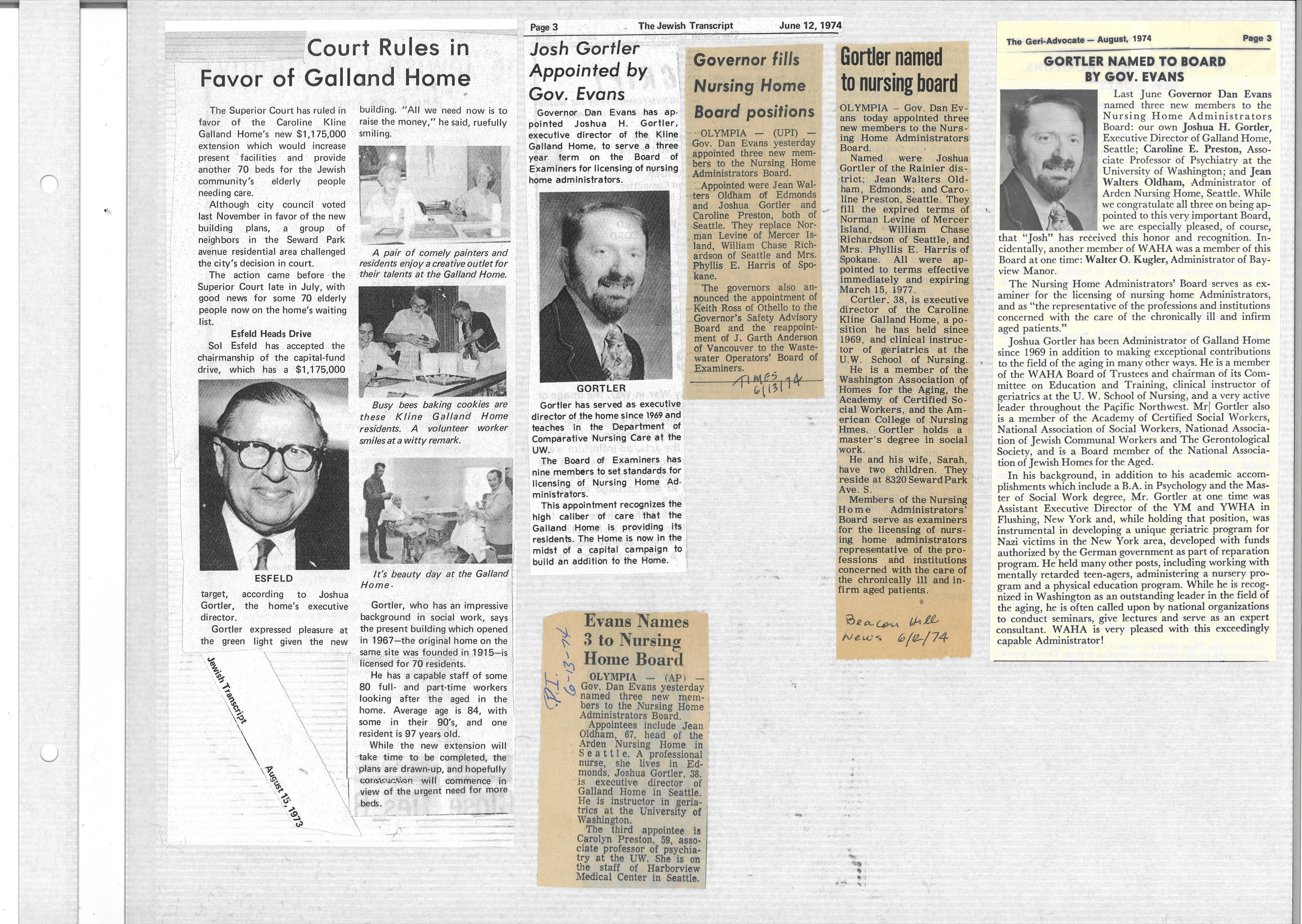 Gortler appointed to the Nursing Home Administrator's Board (June 1974)
