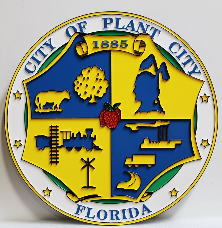 DP-1980 - Carved 2.5-D Raised Outline Relief Artist-Painted Plaque of the The Seal of Plant City, Florida