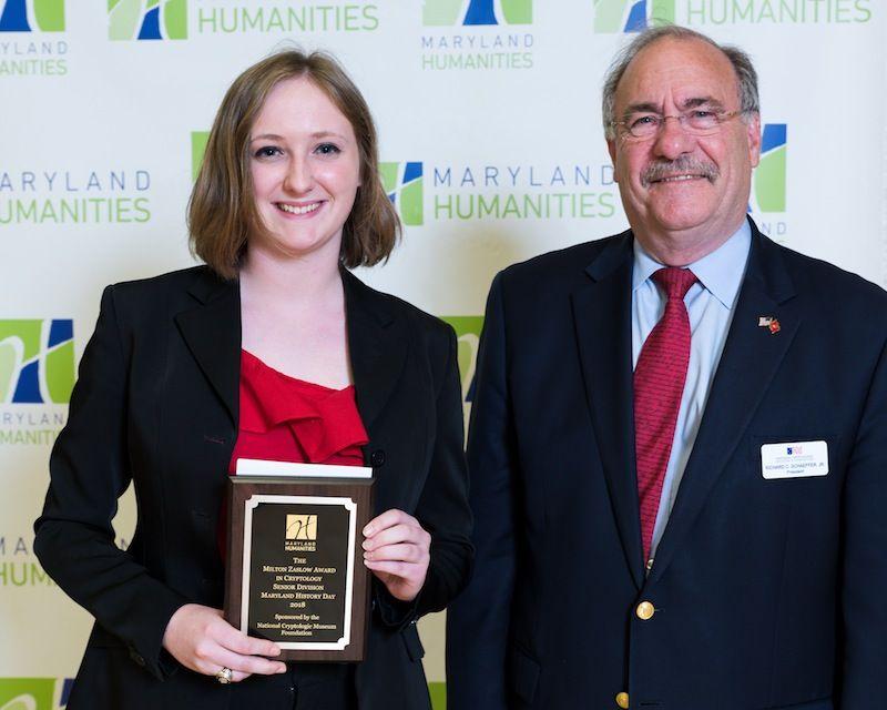 Emily Rand, 2018 Senior Division Winner with NCMF President Dick Schaeffer