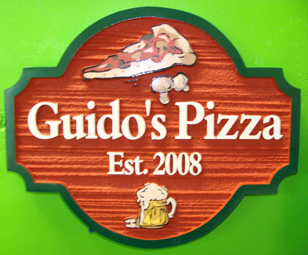 Q25330 - Wood Look Carved HDU Sign for Restaurant Pizza parlour with Carved Slice of Pizza, Beer Mug with Beer and Mushrooms