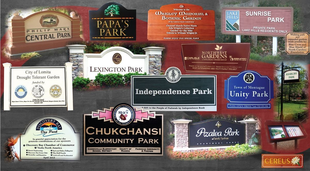 City, community, and private park and garden signs