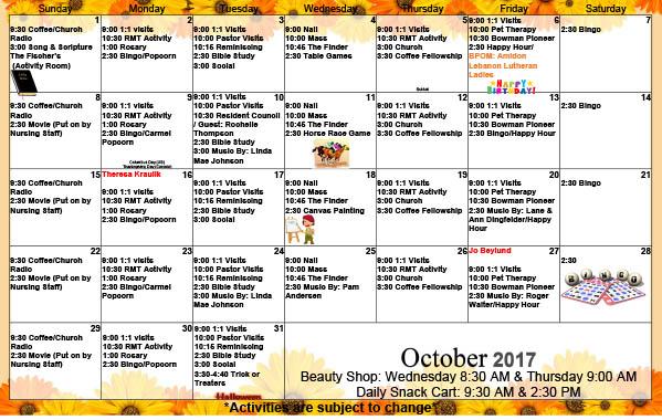 October 2017 Activity Calendar