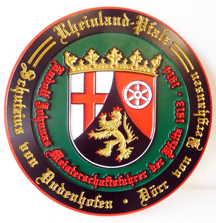 N23371 - Carved 2.5-D  Wall plaque featuring a Germanic Family Coat-of-Arms, a Wappen, with 24K Gold Leaf Gilding