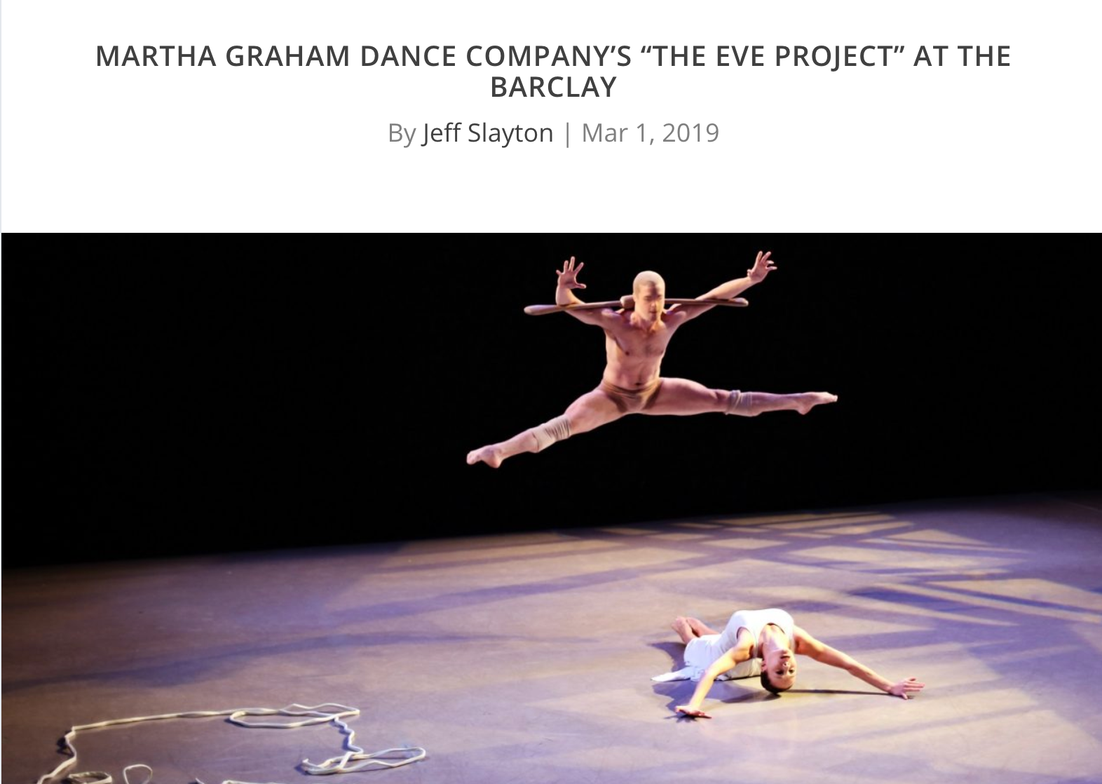 """Martha Graham Dance Company's """"The Eve Project"""" at The Barclay"""