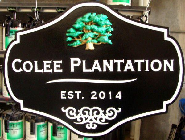"024886 – Carved  HDU Address Sign for ""Colee Plantation"" , with 3D Carved Tree"