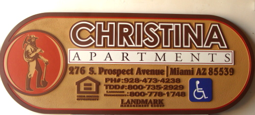 "K20142 - Carved  ""Christina""  Apartment Entrance Sign, with Goldminer"