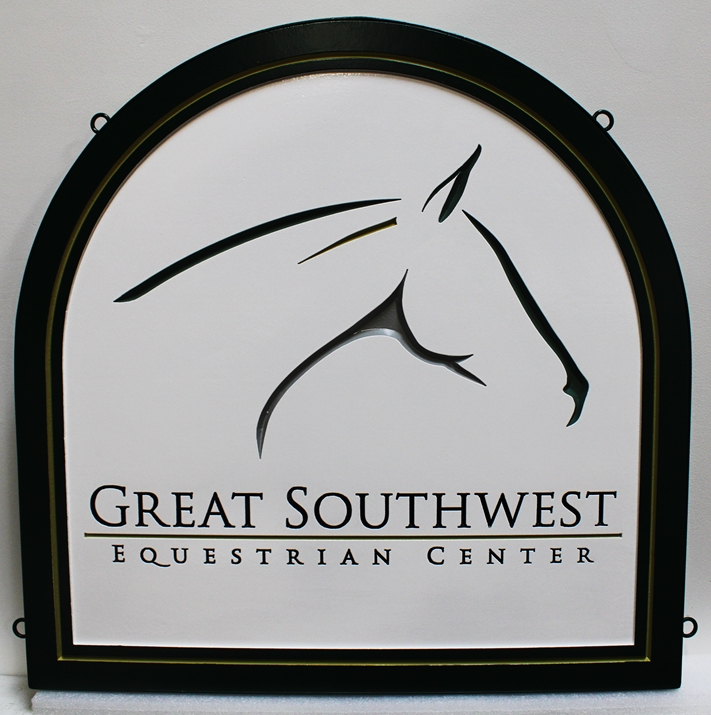P25064 - Engraved  High Density Urethane (HDU) Sign for the Great Southwest Equestrian Facility, with Stylized Horse Head as Artwork.