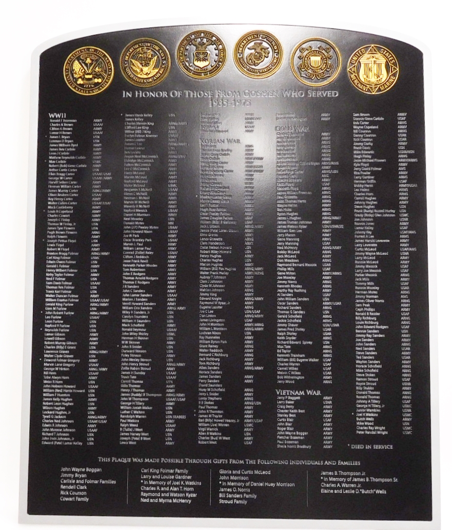 IP-1322 - Name Plaque Honoring Servicemen from Goshen, Indiana Who  Served in the Armed Forces , with 6 Carved Service Seals