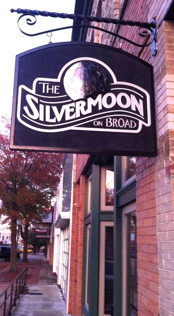 "SA28033 -""Silver Moon"" Storefront Sign Mounted on a Powder-Coated Steel Wall Bracket"