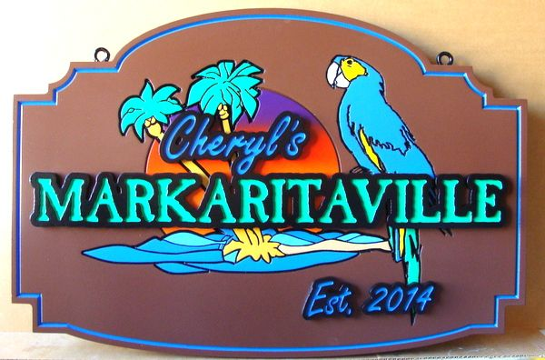 L21915 - Carved 2.5D HDU Coastal Home  Sign, with a Tropical Parrot, Palm Trees, and Setting Sun