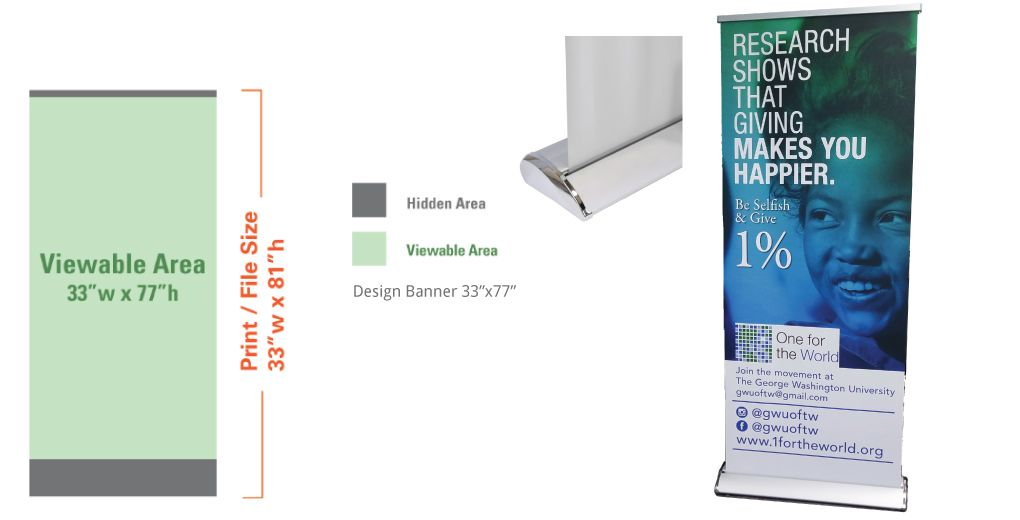 "Retractable 33""  Banner + Stand"