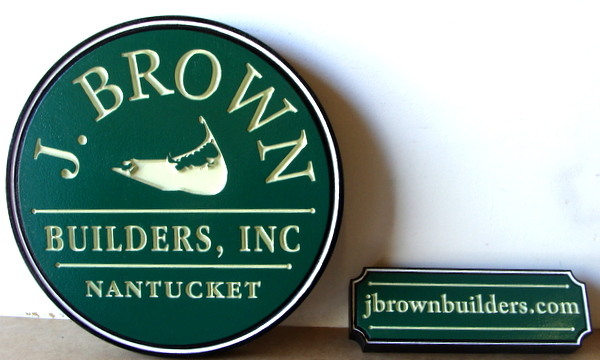 "S28072 - Engraved HDU Signs for ""J. Brown Builders""  Company in Nantucket , with Whalebone Logo as Artwork"