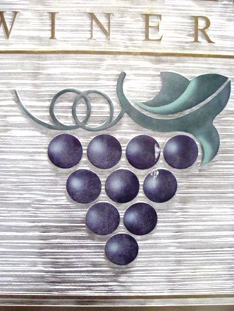 R27004- Closeup of Stylized Grape Cluster on Winery Sandblasted HDU Sign