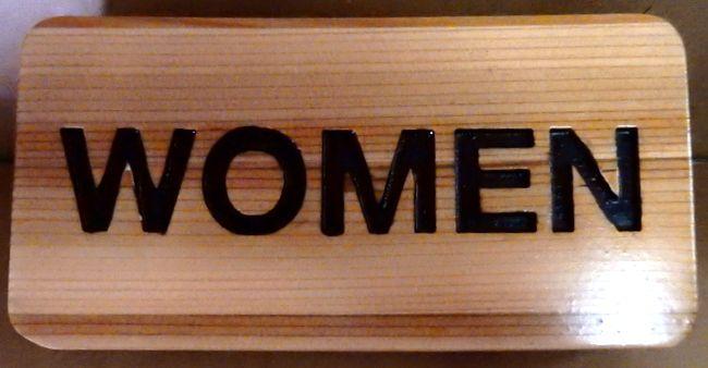 GB16793 - Engraved  Cedar Wood  Sign for Women's Restroom