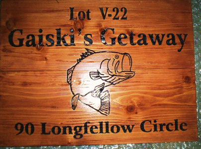 "M3946 - Carved Redwood RV Park Lot Number and Address Sign ""Gaiski's Getaway"" with Engraved Jumping Bass Fish (Gallery 21)"