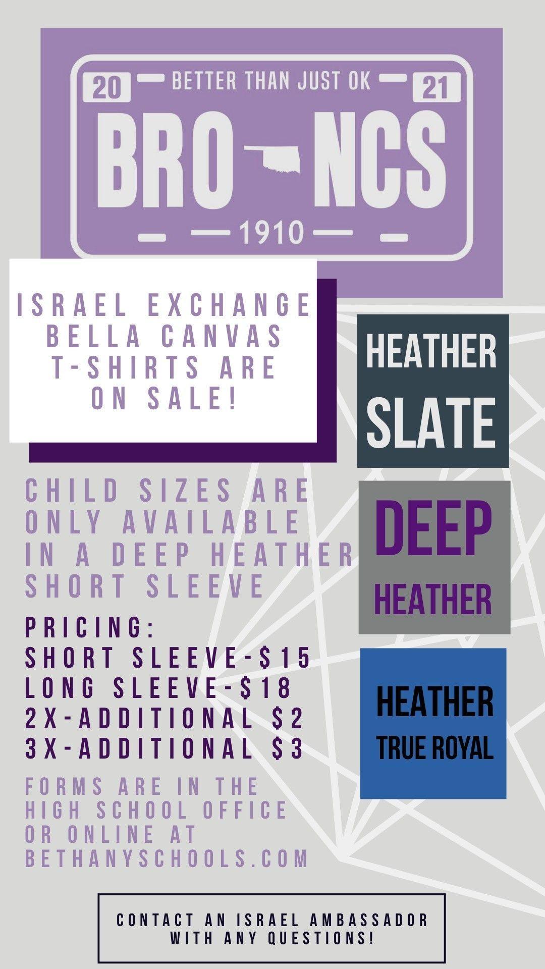 Bethany Israeli Ambassador Shirt Sales - Deadline 11/19