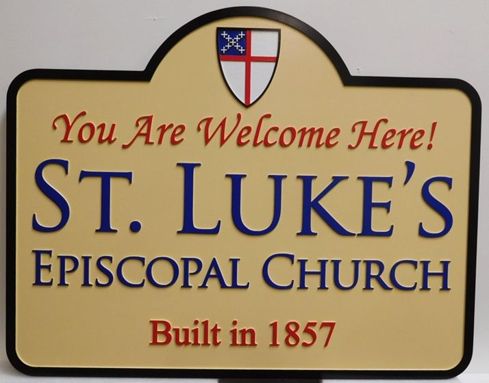 "D13019 - Carved Entrance Sign for the ""St. Luke's Episcopal Church"" , 2.5-D Multi-Level Relief, Artist-Painted"