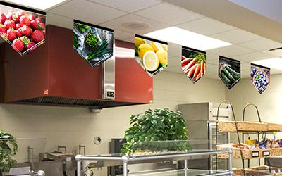 6 food banners hanging in school café serving line, school banners, market style, small banners