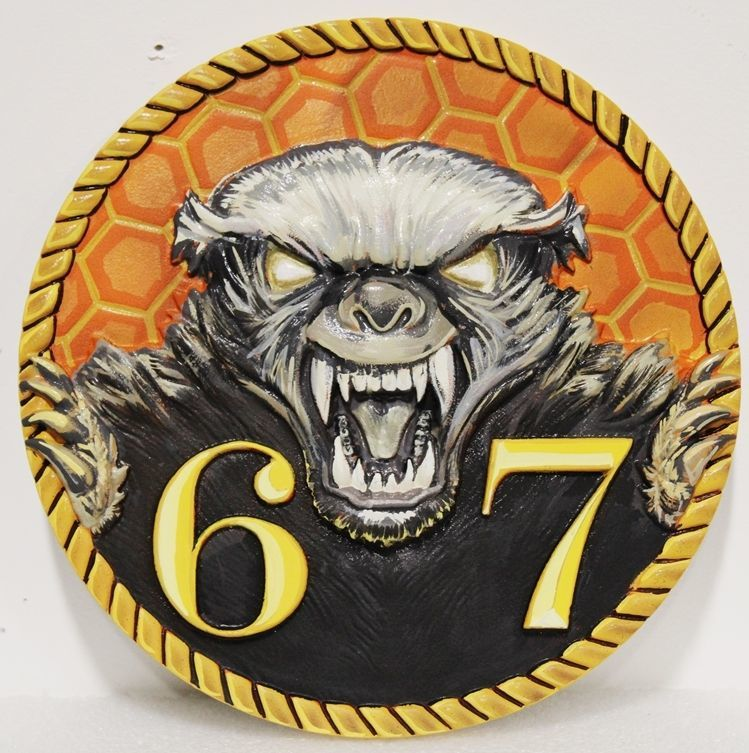 JP-2357 - Carved 2.5-D HDU Plaque of the Logo of  the Cryptologic Warfare Activity Sixty-Seven, US Navy