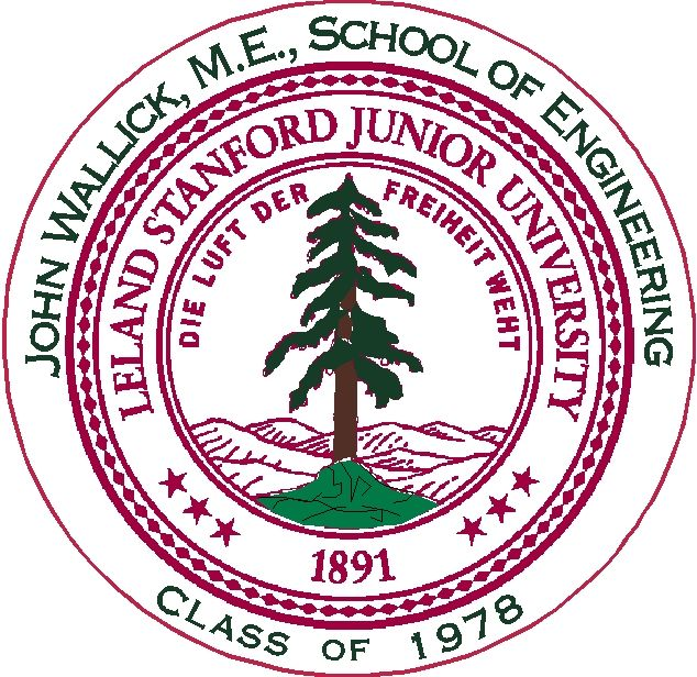 Y34384 - Personalized Carved 2.5-D HDU (Raised Outline or Engraved)  Wall Plaque of the Seal of Stanford University