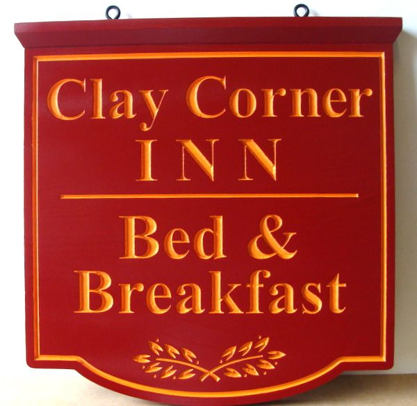 "T29047 - Engraved   HDU Hanging Sign for the ""Clay Corner Inn""  B&B"