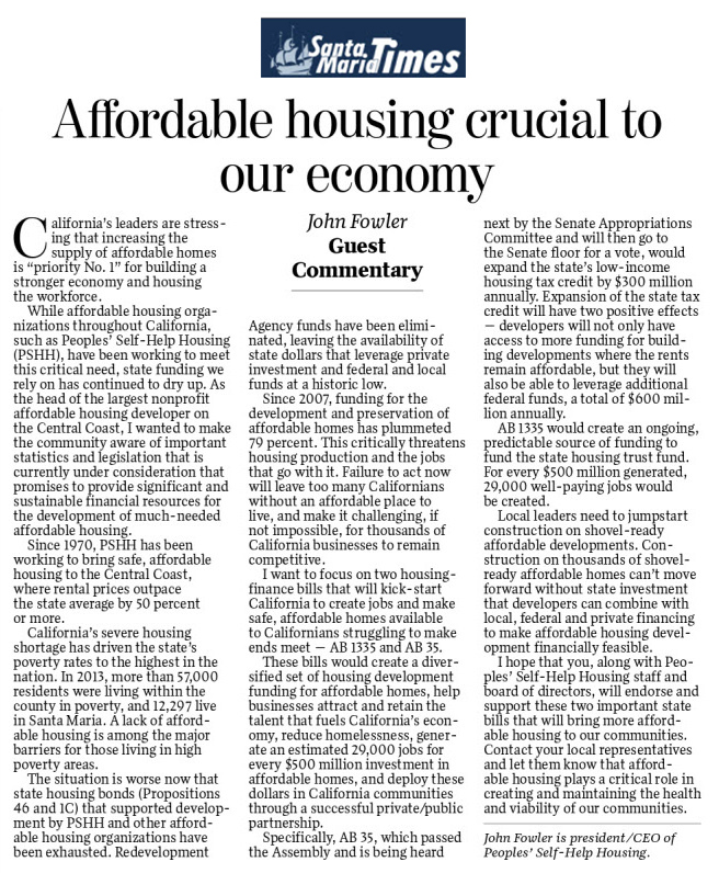 Affordable housing crucial to our economy - Santa Maria Times
