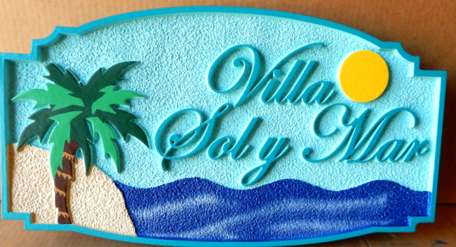 "L21111 - Beach House Sign for ""Villa Sol Y Mar"" with Sun, Sky, Sea, Island and Palm Tree"