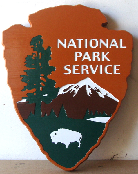 U30429 - Carved 2.5 HDU Wall Plaque of the  US National Park Service Arrow Emblem