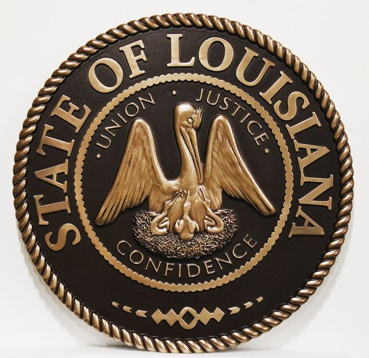 GP-1125 - Carved 3-D Bas-Relief Bronze-plated Plaque of the Seal of a Louisiana State Court