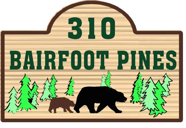 M22858 - Design of Wood or HDU Address Sign for Mountain Home with Carved Bears and Pine Trees