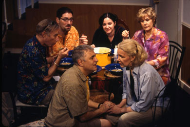 WHEN I'M 64 - 2003. George Ashiotis, J. Martin McDonough, Nicholas Viselli, Pamela Sabaugh, Karen Case Cook, and Melanie Boland. A group of people who are eating dinner together.
