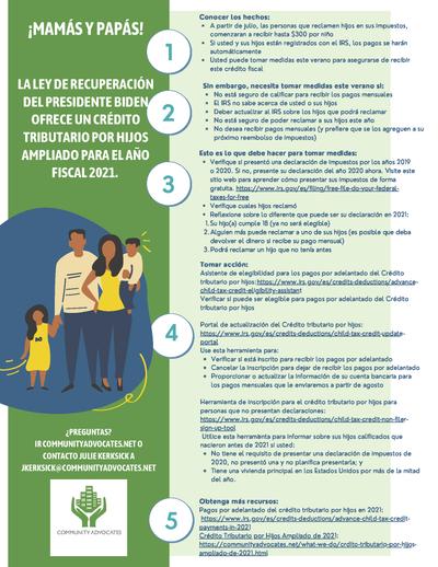 Community Advocates Crédito Tributario por Hijos