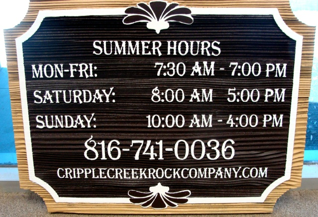 "SA28553 -  Sandblasted Redwood Sign for the  ""Cripple Creek Rock Company"" with its Hours"